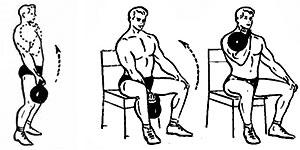 Подъем гири к плечу сидя или стоя